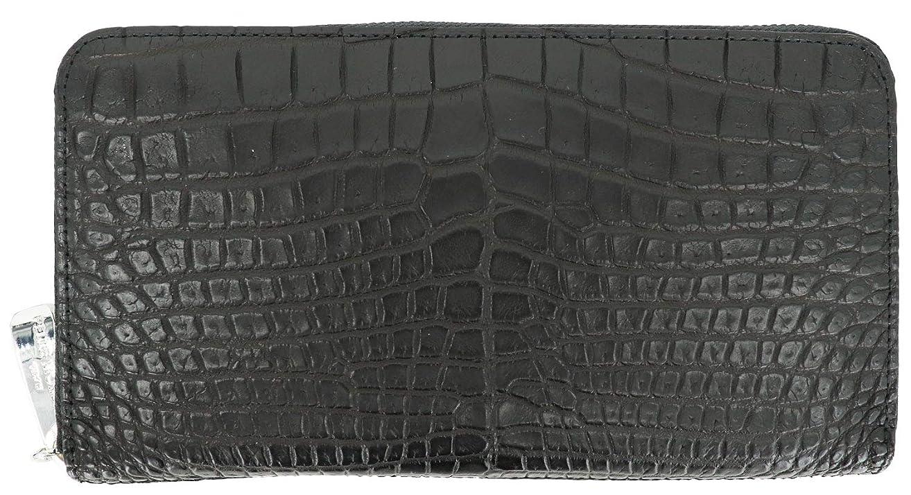 満足させる不適切な止まる[PELLE MORBIDA ペッレモルビダ] クロコダイル ラウンドジップ 長財布 PMO-CRS010 BLACK(ブラック)