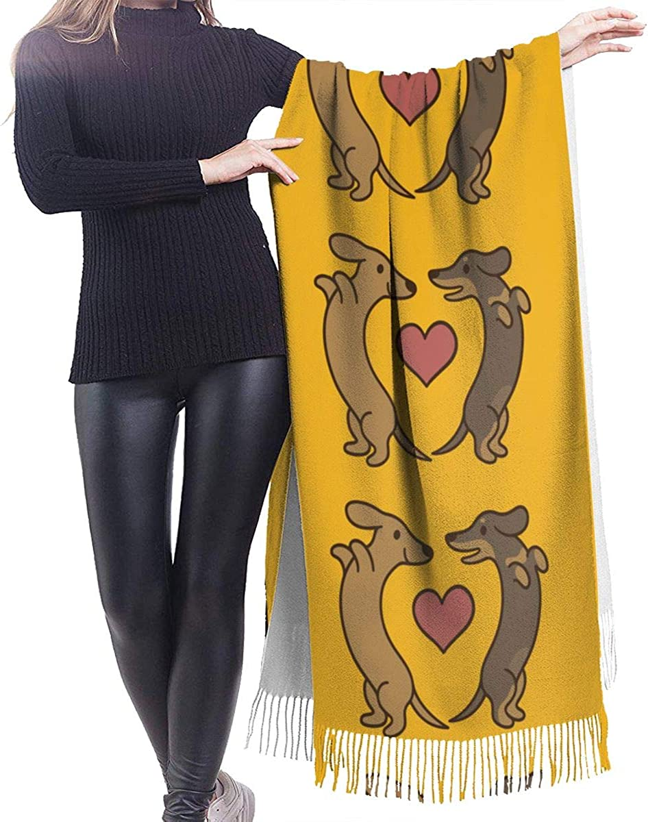 Dachshunds In Love Cashmere Shawl Wrap Scarf Large Warm Scarf For Women