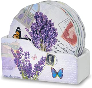BANBERRY DESIGNS Coaster for Drinks - Set of 6 Butterfly Themed Coasters with Holder - Each One is Printed with an Inspirational Message - Gifts for Her - Decorative Coasters