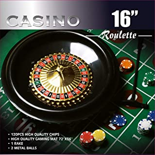 DA VINCI 16-Inch Roulette Wheel Game Set with 120 11.5-Gram Chips, Full Size 3'x6' Felt Layout, and Rake