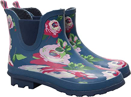 Mountain Warehouse Floral Winter Ankle Wellies - Waterproof PVC Outer, Soft Wool Lining with Durable Rubber Outsole, EVA Footbed & Easy to Clean Wellingtons