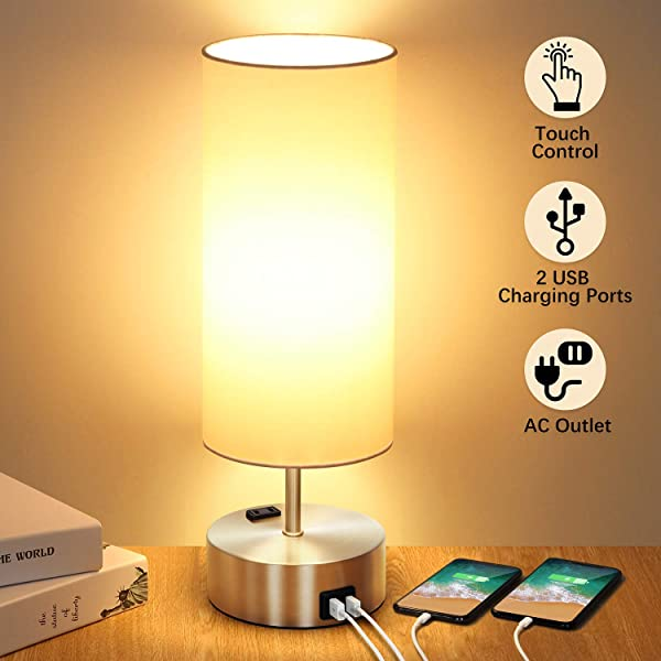 Touch Control Table Lamp With 2 Fast Charging USB Ports And Power Outlet 3 Way Dimmable Lamp Modern Bedside Lamp Nightstand Lamp For Bedroom Living Room Office Reading 60W LED Bulb Included Silver