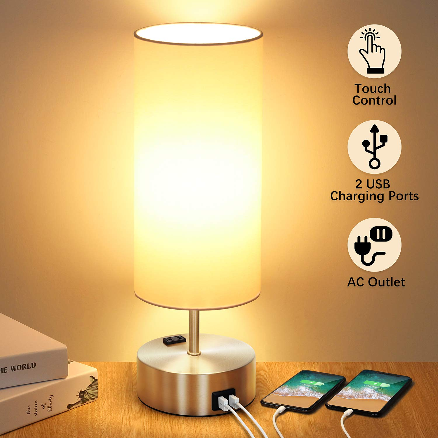 Control Charging Dimmable Nightstand Included