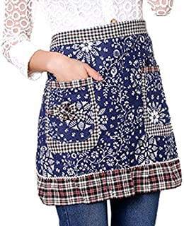 Sealike Classic Vintage Floral Flower Cotton Waist Half Apron with Pockets for Women with Stylus Blue