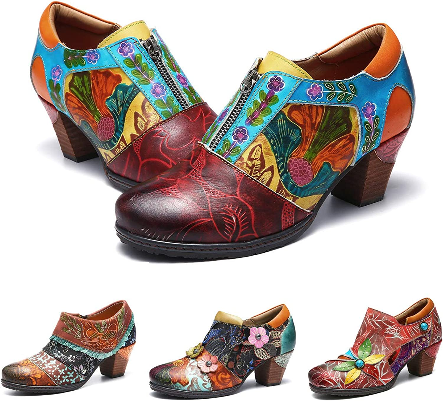 Gracosy Women Leather Ankle Boots, Ladies Mid Block Heel Mary Jane Zipper shoes Vintage Handmade Splicing Pattern shoes