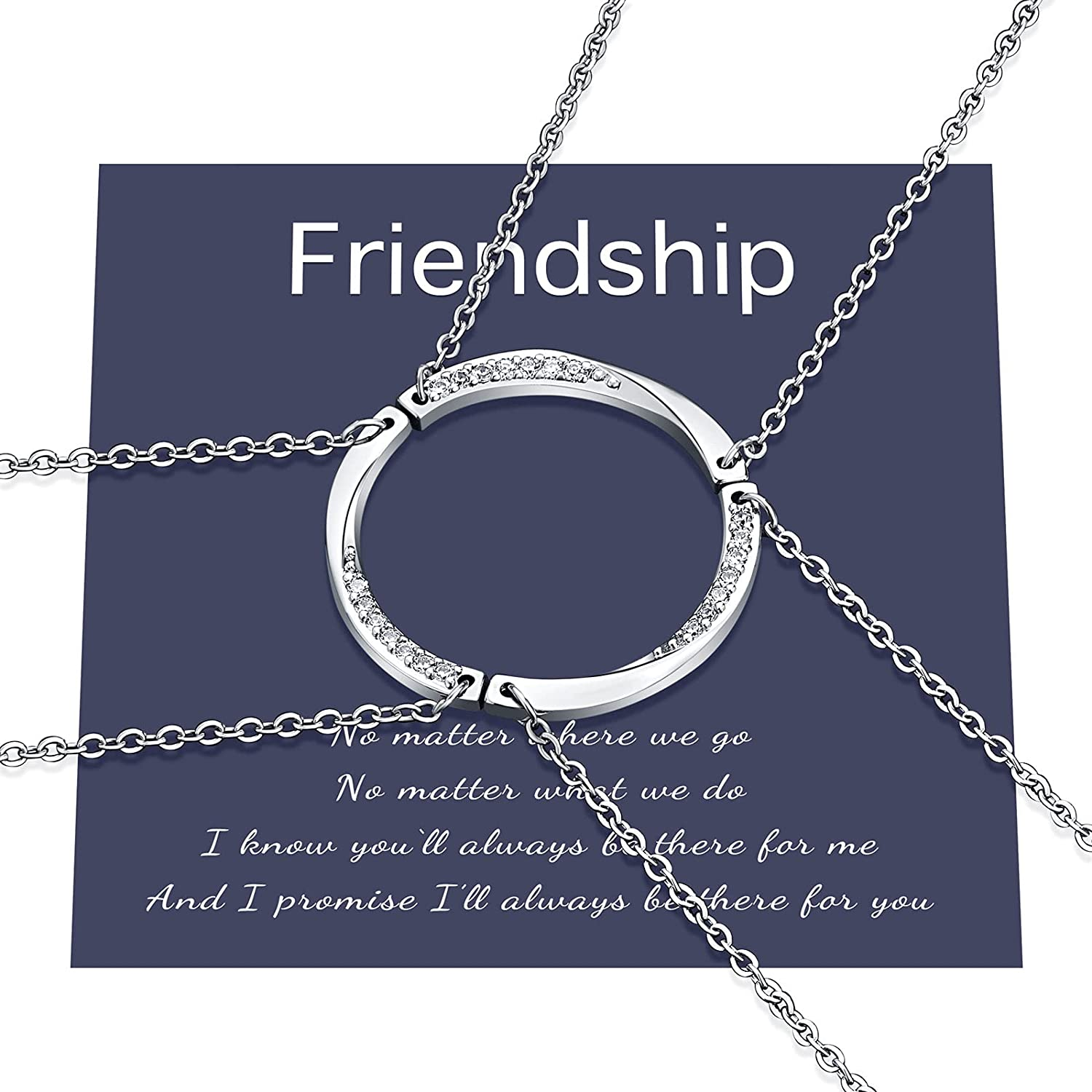Friendship Circle Necklace Set Best Friend Friendship Matching BFF Necklace for 2/3 Girls Women Friends Sisters