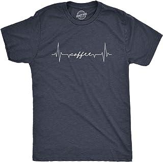 Mens Coffee Heartbeat Tshirt Funny Coffee Addict Lifeline Sarcastic Graphic Tee (Heather Navy) - S