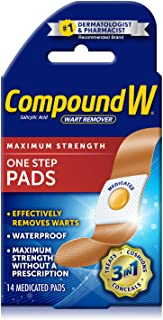 Compound W One Step Pads | Salicylic Acid Wart Remover | 14 Count (Pack of 1) Pads, White