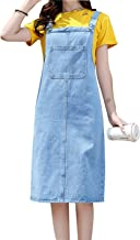 Omoone Women's Casual Strap Denim Pinafore Bib Overall A Line Dress with Pockets