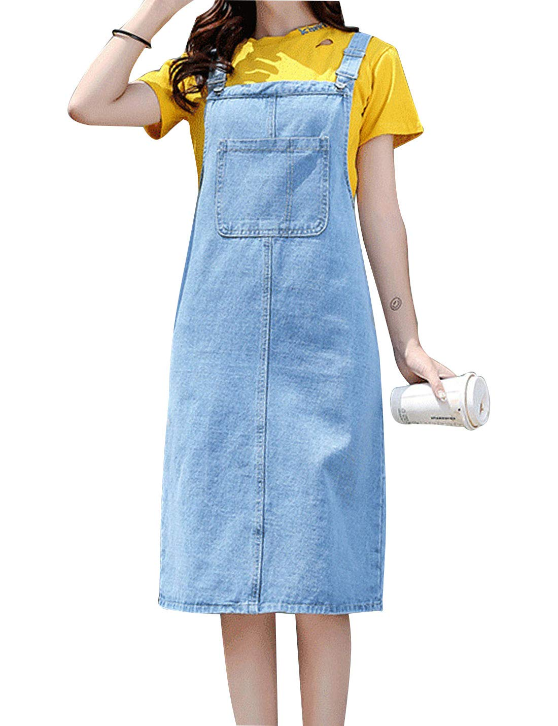 Available at Amazon: Omoone Women's Casual Strap Denim Pinafore Bib Overall A Line Dress with Pockets