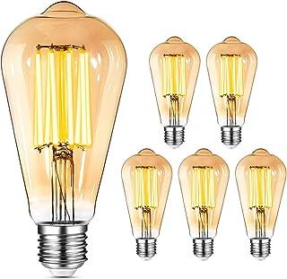 Ampoule E27 Vintage Edison LED - 8W(Égal à 80W) 1000LM / 2400K, YUNLIGHTS 6PCS Rétro ST64 Ampoules de Décorative Lampe Fil...