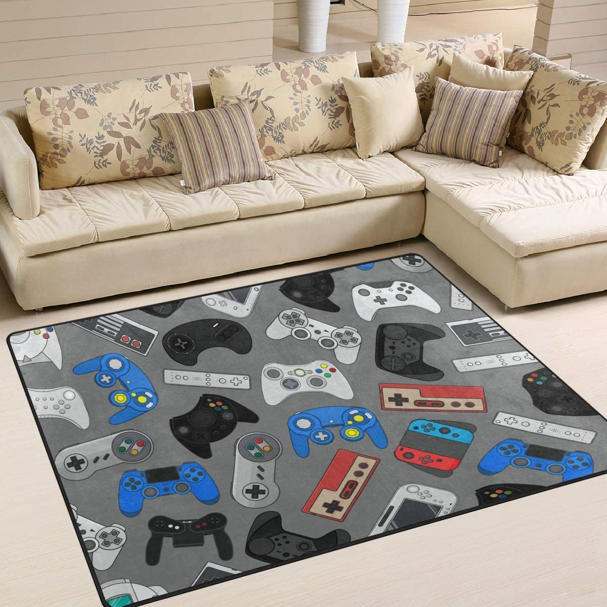 FOLPPLY Video Game Controller Toy Area Rug Non-Slip Pattern Surprise Max 80% OFF price Car