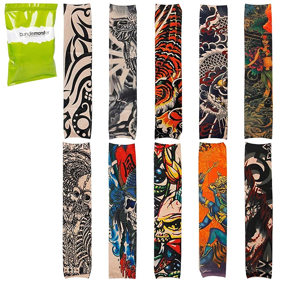 Bundle Monster BMC Cool 10pc Fake Temporary Tattoo Sleeves Body Art Arm Stockings Accessories