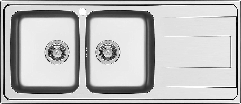 Schock Wave D200SX Fregadero de acero inoxidable, 116 x 50 x 20 cm
