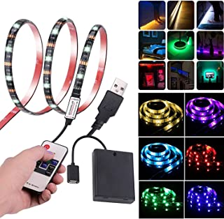 Leimaq Led Strip Lights USB Battery Powered TV Backlight Led Light Strip with RF Remote Waterproof Multi Color Changing RGB SMD 5050 Rope Light