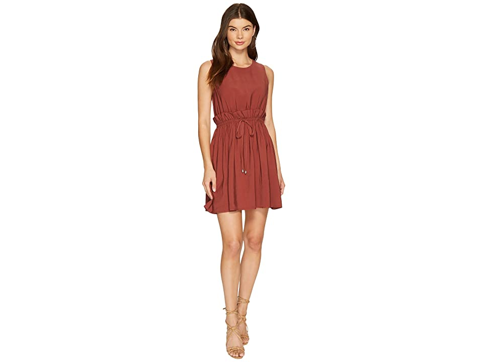 J.O.A. Elastic Ruffle Waist Dress (Chestnut) Women