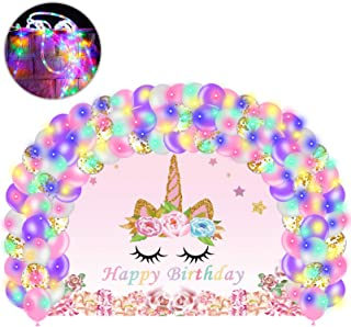 Unicorn Birthday Party Decorations for Girls, Rainbow Unicorn Party Supplies Girl he Theme Backdrop, Balloons and le Strin...