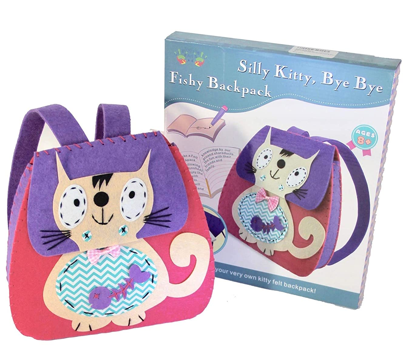 Craft Kit for Kids, Sewing Activity DIY Backpack Kit for Girls-Silly Kitty