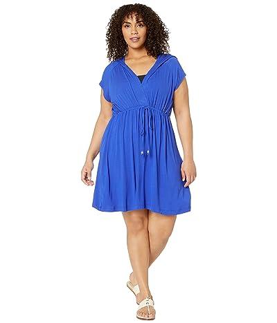 DOTTI Plus Size Resort Solids Raglan Hoodie Dress Cover-Up (Royal) Women