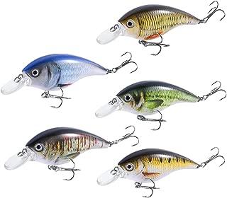 3.54 LENPABY 8 pcs Deep Plong/ée Minnow p/êche leurres Crankbaits Kit pour Bass et Trout Fishing Tackle 9 cm 8,3 g