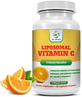 Liposomal Vitamin C 1200mg per Serving 180 Veggie Capsules per Bottle High Absorption Vitamin C Pill Supplements Fat Solub...
