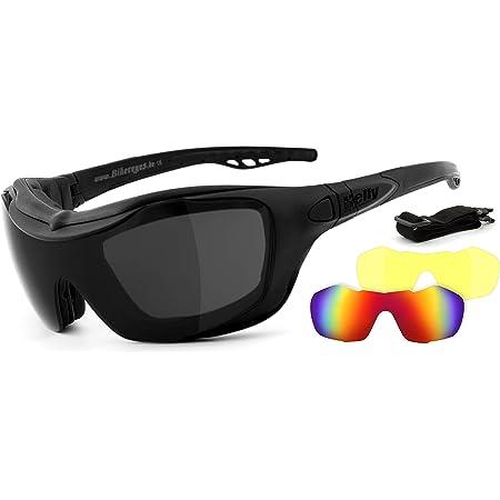 Helly No 1 Bikereyes Motorradbrille Multifunktionsbrille Bikerbrille Beschlagfrei Winddicht Wechselgläser Tag Nacht Hlt Sicherheitsglas Bügel Band Wechselbar Brille Bandit 2 Auto