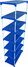 Dhani Creations Extra Strong Multipurpose Rack for Shoes, Clothes, Books & Utility Rack, Steel Frame with Plastic Shelves (7 Step, Blue & White)