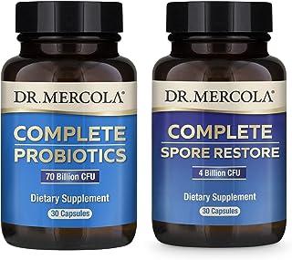 Dr. Mercola Complete Gut Restore Pack (30 Servings), Spore Restore 4 Billion CFU, Complete Probiotics 70 Billion CFU, Supp...