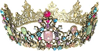 LXKBD Baroque Crown Vintage Tiara Luxury Retro Headband Crystal Rhinestone Beads Hair Jewelry Decor for Queen Women Girls Bridal Princess Birthday Wedding Pageant Party (Colorful)