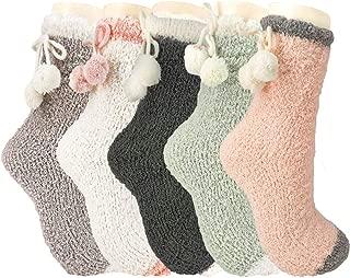 Fuzzy Socks,5 Pairs Fluffy Fuzzy Socks for Women Cute Warm Plush Slipper Cozy Comfy Socks Women Indoors Microfiber Crew Socks for Women