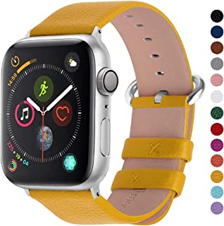 Fullmosa Compatible Apple Watch Band 38mm 40mm 42mm 44mm Calf Leather Compatible iWatch Band/Strap Compatible Apple Watch Series 5 Series 4 Series 3 Series 2 Series 1, 38mm 40mm Yellow