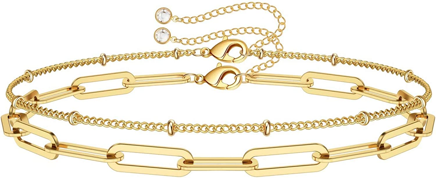 Dainty Gold Bracelets for Women Adjustable Super beauty product restock quality top Filled Excellent Laye 14K