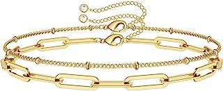 Dainty Gold Bracelets for Women, 14K Gold Filled Adjustable Layered Bracelet Cut