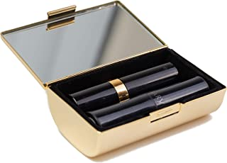 Gold Boxed Travel Double Lipstick Case With Mirror