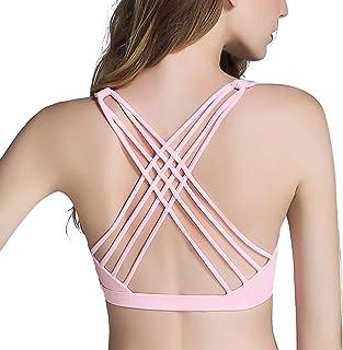 Women Sports Bra Cross Back Strappy Workout Active Wear Wirefree Padded Bra Top