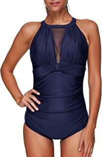Best Women One Piece Swimsuit High Neck Plunge Mesh Ruched Monokini Swimwear Reviews
