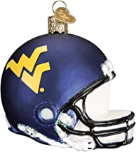 Old World Christmas Glass Blown Ornament with S-Hook and Gift Box, College Football Helmet Collection (West Virginia)