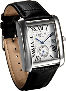 JewelryWe Luxury Square Independent Second Dial Japan Quartz Watch Auto Date Wristwatch for Men - Black Leather