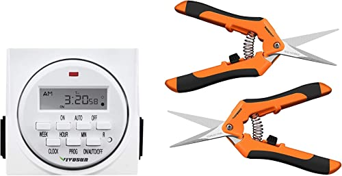 2021 VIVOSUN 2-Pack Gardening Hand Pruner with Straight Stailess Steel Blades wholesale and 7 Day Programmable Digital Timer Switch with lowest 2 Outlets online sale