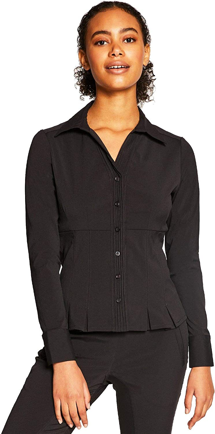 Noel Asmar Uniforms Madison Long Sleeve Dress Shirt Tunic, Inverted pleats and double button cuffs