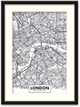 NWT Black Paper Framed Canvas Wall Art for Living Room, Bedroom Black and White City Map Canvas Prints for Home Decoration Ready to Hanging - 23x31 inches