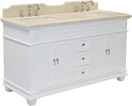 Elizabeth 60 Inch Double Bathroom Vanity Crema Marfil White Includes White Cabinet With Authentic Spanish Crema Marfil Countertop And White Ceramic Sinks Amazon Com