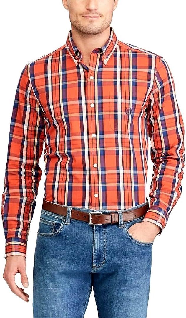 Chaps Mens Classic Fit Poplin Shirt Orange Plaid