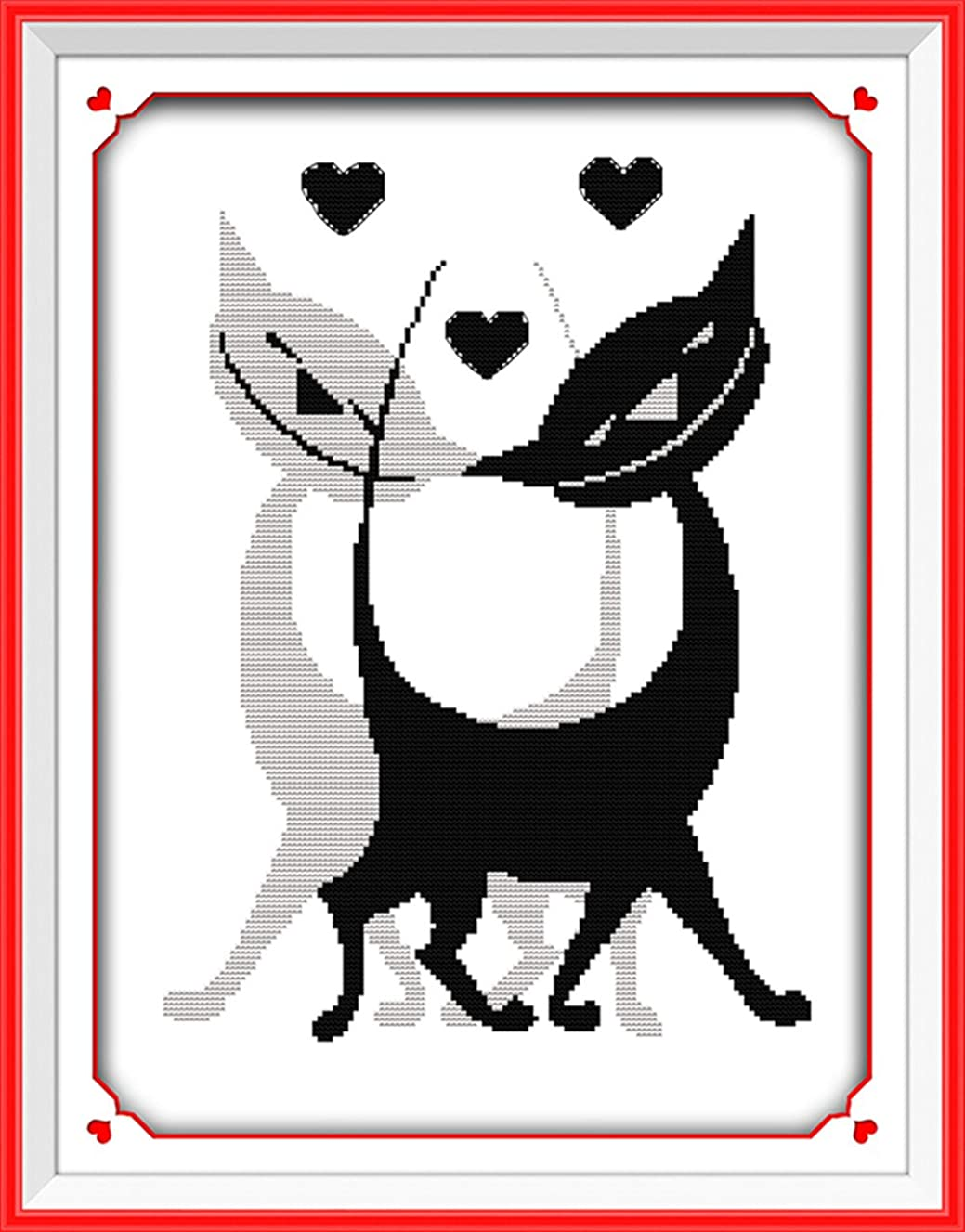 CaptainCrafts New Stamped Cross Stitch Kits Preprinted Pattern Counted Embroidery Starter Kits for Beginner Kids and Adults - Black White Lover Cats - DIY Artwork Needlecrafts (STAMPED)