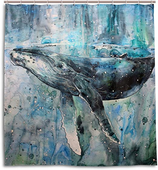 Oprint Shower Curtain With Hook Whale Oil Painting Shower Curtain For Bathroom Waterproof Fabric Bathroom Decor 66x72 Inch Home Kitchen Amazon Com