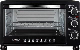 WOLTU Mini Four 25 litres, Mini Four à Pizza à Pain grillé Mini Four avec minuterie 100-250 ℃ 1500W,Noir BF11sz