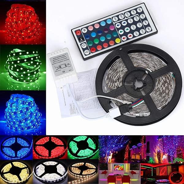 Lomsarsh 5M 3528 RGB LED Strip Lights SMD Lights String Lights RGB Not Waterproof 44 Button Controller Single Head DC Female