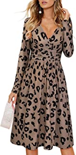 OUGES Women's Casual Long Sleeve Midi V-Neck Wrap Waist Party Dress with Pockets