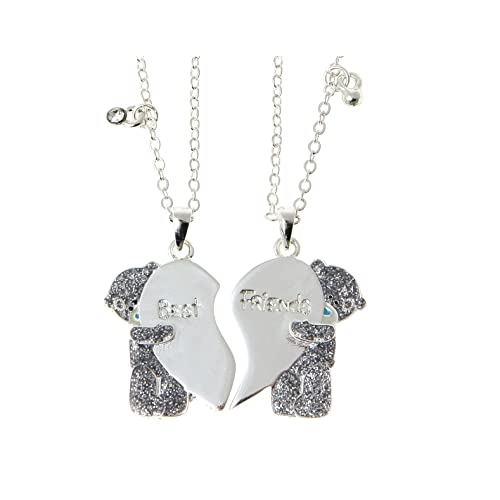 Me to You Tatty Teddy Best and Friend Silver Plated Pendant Necklaces with Crystal Stones on 16 Inch Chain