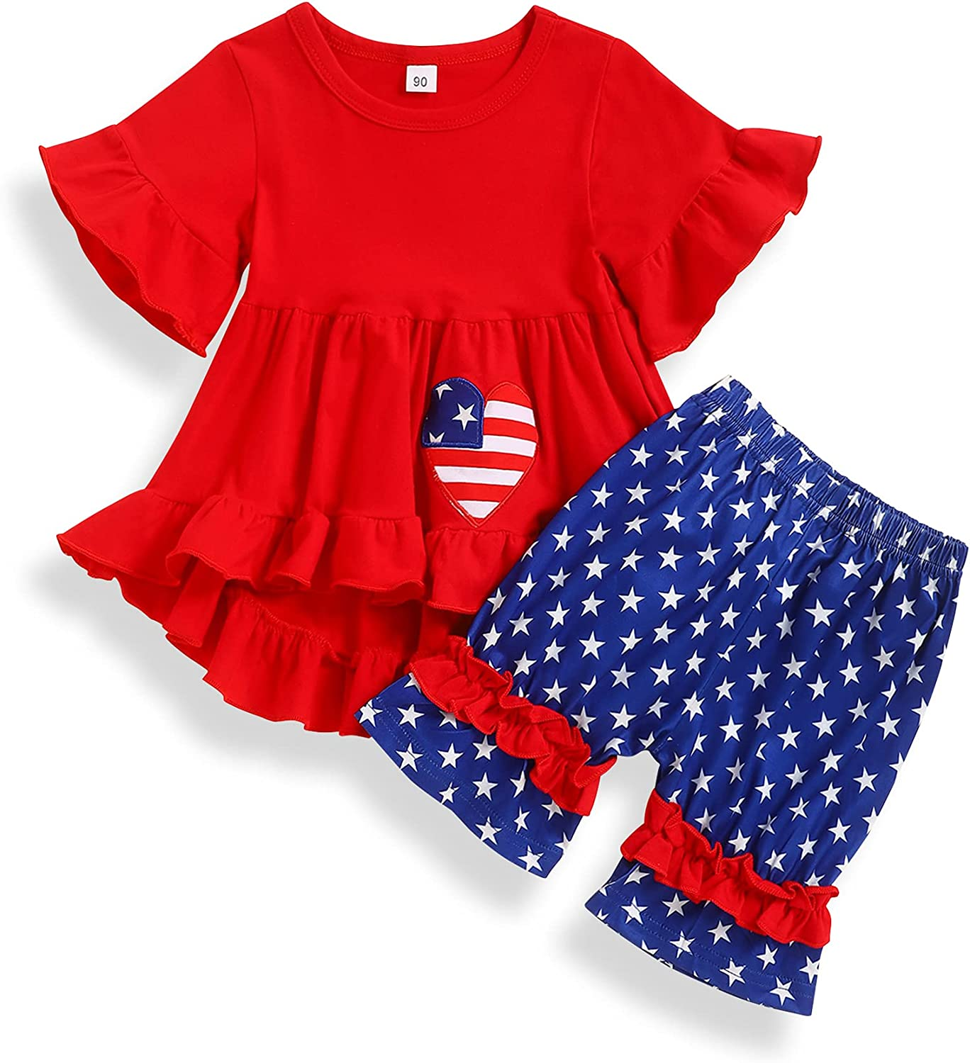 Xinlykid 4th of July Toddler Baby Girl Clothes Independence Day Ruffle Top + American Flag Star Pants Outfits Set